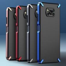 Чехол-накладка X-4 Series для смартфона Xiaomi Poco X3 / Xiaomi Poco X3 Pro, полупрозрачный поликарбонат с серым оттенком, рама из цветного поликарбоната, дополнительная защита углов смартфона, накладка на кнопки регулировки громкости, серый, синий, красный,  розовый, Киев