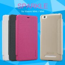 Чехол Nillkin (серия Sparkle) для смартфона Xiaomi Mi4i / Xiaomi Mi4c, смарт-чехол, чехол-книжка, горизонтальный флип, sleep / wake, сон / пробуждение, пластик, искусственная кожа, PU, тёмно-серый, чёрный, белый, золотой, розовый, Киев