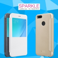 Чехол Nillkin (серия Sparkle) для смартфона Xiaomi Mi5X / Xiaomi Mi A1, смарт-чехол, чехол-книжка, горизонтальный флип, смарт-окно, sleep / wake, сон / пробуждение, пластик, искусственная кожа, PU, чёрный, белый, золотой, розовый, Киев