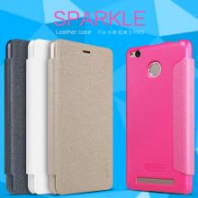 Чехол Nillkin (серия Sparkle) для Xiaomi RedMi 3 Pro / RedMi 3S, чехол-книжка, горизонтальный флип, пластик, искусственная кожа, PU, чёрный, белый, золотой, розовый, Киев