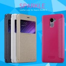 Чехол Nillkin (серия Sparkle) для смартфона Xiaomi RedMi 4, смарт-чехол, чехол-книжка, горизонтальный флип, смарт-окно, sleep / wake, сон / пробуждение, пластик, искусственная кожа, PU, чёрный, белый, золотой, розовый, Киев