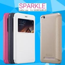 Чехол Nillkin (серия Sparkle) для смартфона Xiaomi RedMi 4A, смарт-чехол, чехол-книжка, горизонтальный флип, рифлёный пластик, искусственная кожа, PU, чёрный, белый, золотой, розовый, Киев
