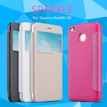 Чехол Nillkin (серия Sparkle) для смартфона Xiaomi RedMi 4X, смарт-чехол, чехол-книжка, горизонтальный флип, смарт-окно, пластик, искусственная кожа, PU, чёрный, белый, золотой, розовый, Киев