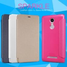 Чехол Nillkin (серия Sparkle) для смартфона Xiaomi RedMi Note 3 / RedMi Note 3 Pro, чехол-книжка, горизонтальный флип, пластик, искусственная кожа, PU, чёрный, белый, золотой, розовый, Киев