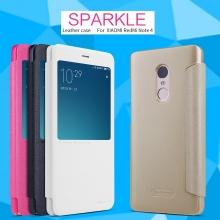 Чехол Nillkin (серия Sparkle) для Xiaomi RedMi Note 4, смарт-чехол, чехол-книжка, горизонтальный флип, смарт-окно, sleep / wake, сон / пробуждение, пластик, искусственная кожа, PU, чёрный, белый, золотой, розовый, Киев