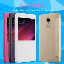 Чехол Nillkin (серия Sparkle) для Xiaomi RedMi Note 4X, противоударный чехол, смарт-чехол, чехол-книжка, горизонтальный флип, смарт-окно, sleep / wake, сон / пробуждение, пластик, искусственная кожа, PU, чёрный, белый, золотой, розовый, Киев