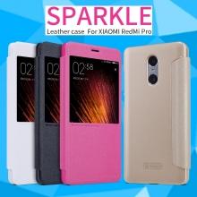 Чехол Nillkin (серия Sparkle) для Xiaomi RedMi Pro, смарт-чехол, чехол-книжка, горизонтальный флип, смарт-окно, sleep / wake, сон / пробуждение, пластик, искусственная кожа, PU, чёрный, белый, золотой, розовый, Киев