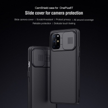 Чехол с защитной шторкой для камеры Nillkin CamShield для смартфона OnePlus 8T, противоударный бампер, рифлёный пластик, шторка-слайдер для защиты камеры от механических воздействий, чёрный, Киев