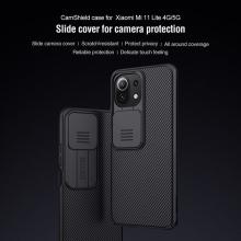 Чехол с защитной шторкой для камеры Nillkin CamShield для смартфона Xiaomi Mi 11 Lite / Xiaomi Mi 11 Lite 5G / Xiaomi Mi 11 Youth Edition, противоударный бампер, рифлёный пластик, шторка-слайдер для защиты камеры от механических воздействий, чёрный, синий, Киев