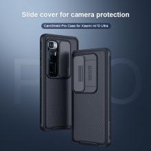 Чехол с защитной шторкой для камеры Nillkin CamShield для смартфона Xiaomi Mi10 Ultra, противоударный бампер, рифлёный пластик, шторка-слайдер для защиты камеры от механических воздействий, чёрный, розовый, Киев