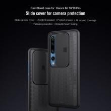 Чехол с защитной шторкой для камеры Nillkin CamShield для смартфона Xiaomi Mi10 / Xiaomi Mi10 Pro, противоударный бампер, рифлёный пластик, шторка-слайдер для защиты камеры от механических воздействий, чёрный, розовый, Киев
