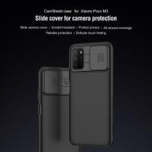 Чехол с защитной шторкой для камеры Nillkin CamShield для смартфона Xiaomi Poco M3, противоударный бампер, рифлёный пластик, шторка-слайдер для защиты камеры от механических воздействий, чёрный, Киев