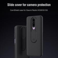 Чехол с защитной шторкой для камеры Nillkin CamShield для смартфона Xiaomi Redmi K30, противоударный бампер, рифлёный пластик, шторка-слайдер для защиты камеры от механических воздействий, чёрный, розовый, Киев