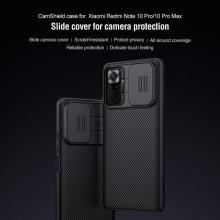 Чехол с защитной шторкой для камеры Nillkin CamShield для смартфона Xiaomi Redmi Note 10 Pro / Xiaomi Redmi Note 10 Pro Max, противоударный бампер, рифлёный пластик, шторка-слайдер для защиты камеры от механических воздействий, чёрный, синий, Киев