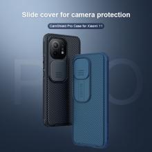 Чехол с защитной шторкой для камеры Nillkin CamShield Pro для смартфона Xiaomi Mi 11, задняя панель из поликарбоната + рама из термополиуретана, дополнительная защита углов смартфона «воздушными подушками», шторка-слайдер для защиты камеры от механических воздействий, накладки на кнопки регулировки громкости, чёрный, синий, зелёный, Киев