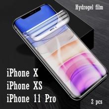 Гидрогелевая защитная плёнка для смартфона iPhone 11 Pro / iPhone X / iPhone XS, в комплект входят 2 плёнки, бронированная плёнка, полноэкранная плёнка (закрывает экран смартфона полностью), клеится к экрану смартфона всей поверхностью, клеится без использования жидкости, самовосстанавливающаяся плёнка, не влияет на чувствительность сенсора, не искажает цвета, олеофобное покрытие, пластиковый держатель для точного позиционирования плёнки на экране, шпатель для разглаживания плёнки, Киев