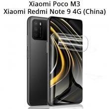 Гидрогелевая защитная плёнка для смартфона Xiaomi Poco M3 / Xiaomi Redmi Note 9 4G (China), в комплект входят 2 плёнки, бронированная плёнка, полноэкранная плёнка (закрывает экран смартфона полностью), клеится к экрану смартфона всей поверхностью, клеится без использования жидкости, самовосстанавливающаяся плёнка, не влияет на чувствительность сенсора, не искажает цвета, олеофобное покрытие, пластиковый держатель для точного позиционирования плёнки на экране, шпатель для разглаживания плёнки, Киев