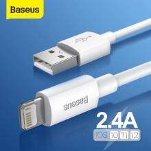 Комплект кабелей Baseus Simple Wisdom (USB – Lightning) – 1,5 м (2 шт.), модель: TZCALZJ-02, для зарядки и передачи данных для устройств с разъёмом Lightning (Apple iPhone, iPad, iPod), 4-жильная луженая медь, оплётка из огнеупорного ПВХ, разъёмы из алюминиевого сплава, максимальный ток зарядки: 2,4 А, скорость передачи данных: до 480 Мб/с, застёжка Velcro (липучка), Киев
