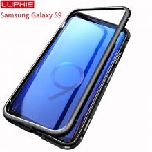 Магнитный чехол Luphie с задней стеклянной панелью для смартфона Samsung Galaxy S9, рама из магналия, сплав алюминия и магния, задняя панель из закалённого стекла, бронированное стекло, соединяются магнитами, 9H, не влияет на качество приёма / передачи сигнала, не мешает беспроводной зарядке, чёрный, серебряный, Киев
