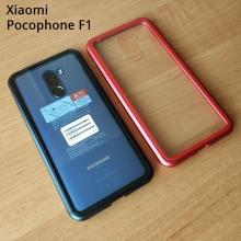 Магнитный чехол Luphie с задней стеклянной панелью для смартфона Xiaomi Pocophone F1 / Xiaomi Poco F1, противоударный бампер, рама из магналия, сплав алюминия и магния, задняя панель из закалённого стекла, бронированное стекло, соединяются магнитами, 9H, не влияет на качество приёма / передачи сигнала, не мешает беспроводной зарядке, чёрный, синий, красный, Киев