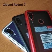 Магнитный чехол Luphie с задней стеклянной панелью для смартфона Xiaomi Redmi 7, противоударный бампер, рама из магналия, сплав алюминия и магния, задняя панель из закалённого стекла, бронированное стекло, соединяются магнитами, 9H, не влияет на качество приёма / передачи сигнала, не мешает беспроводной зарядке, чёрный, серебряный, красный, синий, Киев
