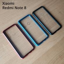 Магнитный чехол Luphie с задней стеклянной панелью для смартфона Xiaomi Redmi Note 8, противоударный бампер, рама из магналия, сплав алюминия и магния, задняя панель из закалённого стекла, бронированное стекло, соединяются магнитами, 9H, не влияет на качество приёма / передачи сигнала, не мешает беспроводной зарядке, чёрный, серебряный, красный, синий, Киев