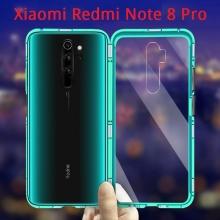 Магнитный чехол Luphie с задней стеклянной панелью для смартфона Xiaomi Redmi Note 8 Pro, противоударный бампер, рама из магналия, сплав алюминия и магния, задняя панель из закалённого стекла, бронированное стекло, соединяются магнитами, 9H, не влияет на качество приёма / передачи сигнала, не мешает беспроводной зарядке, чёрный, синий, красный, Киев