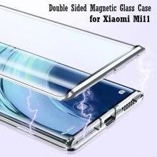 Магнитный чехол со стеклянными задней и передней панелями для Xiaomi Mi11, алюминиевая рама + задняя панель из стекла + передняя панель из стекла, чехол состоит из двух частей, которые соединяются несколькими магнитами, не влияет на качество приёма / передачи сигнала, чёрный, зелёный, синий, красный, серебряный, Киев