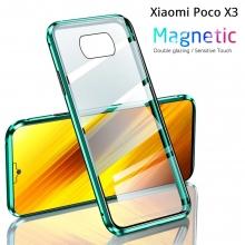 Магнитный чехол со стеклянными задней и передней панелями для смартфона Xiaomi Poco X3, алюминиевая рама + задняя панель из стекла + передняя панель из стекла, чехол состоит из двух частей, которые соединяются несколькими магнитами, не влияет на качество приёма / передачи сигнала, чёрный, зелёный, синий, красный, серебряный, Киев