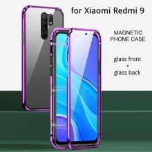 Магнитный чехол со стеклянными задней и передней панелями для смартфона Xiaomi Redmi 9, алюминиевая рама + задняя панель из стекла + передняя панель из стекла, чехол состоит из двух частей, которые соединяются несколькими магнитами, не влияет на качество приёма / передачи сигнала, чёрный, зелёный, синий, красный, серебряный, Киев