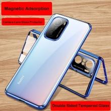 Магнитный чехол со стеклянными задней и передней панелями и защитным блоком для камеры для Xiaomi Poco F3 / Xiaomi Redmi K40 / Xiaomi Redmi K40 Pro / Xiaomi Mi 11i, алюминиевая рама + задняя панель из стекла + передняя панель из стекла, чехол состоит из двух частей, которые соединяются несколькими магнитами, не влияет на качество приёма / передачи сигнала, накладка для защиты блока камер, чёрный, синий, серебряный, красный, фиолетовый, Киев
