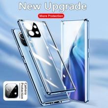 Магнитный чехол со стеклянными задней и передней панелями и защитой для блока камер для Xiaomi Mi 11, алюминиевая рама + задняя панель из стекла + передняя панель из стекла, чехол состоит из двух частей, которые соединяются несколькими магнитами, не влияет на качество приёма / передачи сигнала, накладка для защиты блока камер, чёрный, синий, серебряный, красный, фиолетовый, Киев