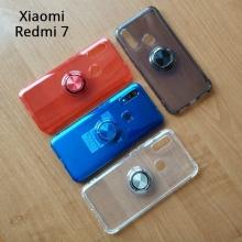 Прозрачный чехол-накладка с магнитным кольцом для Xiaomi RedMi 7, противоударный бампер, термополиуретан TPU, дополнительная защита углов смартфона «воздушными подушками», накладки на кнопки регулировки громкости и включения / выключения, кольцо для пальца, кольцо-подставка для просмотре видео, магнитное кольцо крепится к автомобильным магнитным держателям, прозрачный, прозрачный с чёрным оттенком, прозрачный с синим оттенком, прозрачный с красным оттенком, Киев