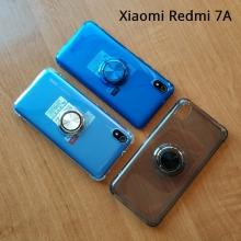 Прозрачный чехол-накладка с магнитным кольцом для Xiaomi RedMi 7A, противоударный бампер, термополиуретан TPU, дополнительная защита углов смартфона «воздушными подушками», накладки на кнопки регулировки громкости и включения / выключения, кольцо для пальца, кольцо-подставка для просмотре видео, магнитное кольцо крепится к автомобильным магнитным держателям, прозрачный, прозрачный с чёрным оттенком, прозрачный с синим оттенком, прозрачный с красным оттенком, Киев