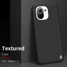 Текстурированный чехол-накладка Nillkin для смартфона Xiaomi Mi 11, textured case, противоударный бампер, рифлёный пластик с нейлоновым волокном, рама из термополиуретана, логотип Nillkin, двойное отверстие для крепления ремешка, чёрный, Киев
