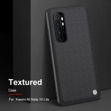 Текстурированный чехол-накладка Nillkin для смартфона Xiaomi Mi Note 10 Lite, textured case, противоударный бампер, рифлёный пластик с нейлоновым волокном, рама из термополиуретана, логотип Nillkin, двойное отверстие для крепления ремешка, чёрный, Киев