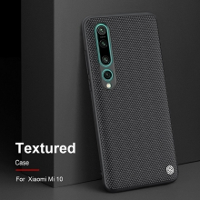 Текстурированный чехол-накладка Nillkin для смартфона Xiaomi Mi10, textured case, противоударный бампер, рифлёный пластик с нейлоновым волокном, рама из термополиуретана, логотип Nillkin, двойное отверстие для крепления ремешка, чёрный, Киев