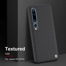 Текстурированный чехол-накладка Nillkin для смартфона Xiaomi Mi10 Pro, textured case, противоударный бампер, рифлёный пластик с нейлоновым волокном, рама из термополиуретана, логотип Nillkin, двойное отверстие для крепления ремешка, чёрный, Киев