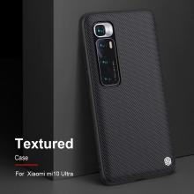 Текстурированный чехол-накладка Nillkin для смартфона Xiaomi Mi10 Ultra, textured case, противоударный бампер, рифлёный пластик с нейлоновым волокном, рама из термополиуретана, логотип Nillkin, двойное отверстие для крепления ремешка, чёрный, Киев