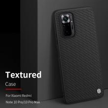 Текстурированный чехол-накладка Nillkin для смартфона Xiaomi Redmi Note 10 Pro / Xiaomi Redmi Note 10 Pro Max, textured case, противоударный бампер, рифлёный пластик с нейлоновым волокном, рама из термополиуретана, логотип Nillkin, двойное отверстие для крепления ремешка, чёрный, Киев