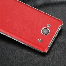 Задняя крышка для Xiaomi RedMi 2 / RedMi 2A, искусственная кожа, хромированная рамка, чёрный, белый, зелёный, оранжевый, фиолетовый, коричневый, красный, Киев