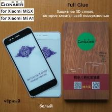 Защитное стекло Bonaier (3D Full Glue) для смартфона Xiaomi Mi5X / Xiaomi Mi A1, клеится к экрану смартфона всей поверхностью, 9H, не влияет на чувствительность сенсора, не искажает цвета, антибликовое покрытие, олеофобное покрытие, стекло с закруглёнными краями 2.5D, 2,5D, прозрачное с чёрной или белой рамкой, набор для подклеивания краёв защитного стекла, Киев