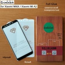 Защитное стекло Bonaier (3D Full Glue) для смартфона Xiaomi Mi6X / Xiaomi Mi A2, бронированное стекло, клеится к экрану смартфона всей поверхностью, 9H, не влияет на чувствительность сенсора, не искажает цвета, антибликовое покрытие, олеофобное покрытие, стекло с закруглёнными краями 2.5D, 2,5D, 3D, 5D, 6D, прозрачное с чёрной или белой рамкой, набор для подклеивания краёв защитного стекла, Киев