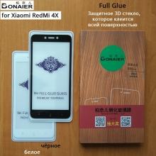 Защитное стекло Bonaier (3D Full Glue) для смартфона Xiaomi RedMi 4X, клеится к экрану смартфона всей поверхностью, 9H, не влияет на чувствительность сенсора, не искажает цвета, антибликовое покрытие, олеофобное покрытие, стекло с закруглёнными краями 2.5D, 2,5D, прозрачное с чёрной или белой рамкой, набор для подклеивания краёв защитного стекла, Киев
