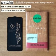 Защитное стекло Bonaier (3D Full Glue) для смартфона Xiaomi Redmi Note 10 5G / Xiaomi Poco M3 Pro, бронированное стекло, клеится к экрану смартфона всей поверхностью, 9H, не влияет на чувствительность сенсора, не искажает цвета, антибликовое покрытие, олеофобное покрытие, стекло с закруглёнными краями 2.5D, 2,5D, 3D, 5D, 6D, прозрачное с чёрной или белой рамкой, набор для подклеивания краёв защитного стекла, Киев