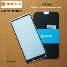 Защитное стекло Mocolo (5D Full Glue) для смартфона Xiaomi Mi Mix 2, бронированное стекло, клеится к экрану смартфона всей поверхностью, 9H, не влияет на чувствительность сенсора, не искажает цвета, антибликовое покрытие, олеофобное покрытие, стекло с закруглёнными краями 2.5D, 2,5D, 3D, 5D, 6D, прозрачное с чёрной или белой рамкой, Киев