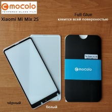 Защитное стекло Mocolo (5D Full Glue) для смартфона Xiaomi Mi Mix 2S, бронированное стекло, клеится к экрану смартфона всей поверхностью, 9H, не влияет на чувствительность сенсора, не искажает цвета, антибликовое покрытие, олеофобное покрытие, стекло с закруглёнными краями 2.5D, 2,5D, 3D, 5D, 6D, прозрачное с чёрной или белой рамкой, Киев