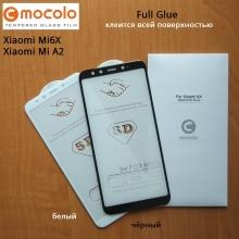 Защитное стекло Mocolo (5D Full Glue) для смартфона Xiaomi Mi6X / Xiaomi Mi A2, бронированное стекло, клеится к экрану смартфона всей поверхностью, 9H, не влияет на чувствительность сенсора, не искажает цвета, антибликовое покрытие, олеофобное покрытие, стекло с закруглёнными краями 2.5D, 2,5D, 3D, 5D, 6D, прозрачное с чёрной или белой рамкой, Киев