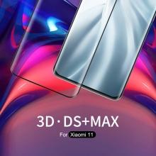 Защитное стекло Nillkin Glass 3D DS+Max (Full Glue) для смартфона Xiaomi Mi 11, закалённое стекло, бронированное стекло, клеится к экрану смартфона всей поверхностью, стекло AGC Inc. Asahi, изогнутое стекло, толщина 0,2 мм, 9H, не влияет на чувствительность сенсора, не искажает цвета, антибликовое покрытие, олеофобное покрытие, стекло с закруглёнными краями 2.5D, 2,5D, 3D, 5D, 6D, 9D, прозрачное с чёрной рамкой, Киев