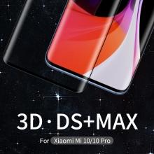 Защитное стекло Nillkin Glass 3D DS+Max (Full Glue) для смартфона Xiaomi Mi10 / Xiaomi Mi10 Pro, закалённое стекло, бронированное стекло, клеится к экрану смартфона всей поверхностью, стекло AGC Inc. Asahi, изогнутое стекло, толщина 0,2 мм, 9H, не влияет на чувствительность сенсора, не искажает цвета, антибликовое покрытие, олеофобное покрытие, стекло с закруглёнными краями 2.5D, 2,5D, 3D, 5D, 6D, 9D, прозрачное с чёрной рамкой, Киев
